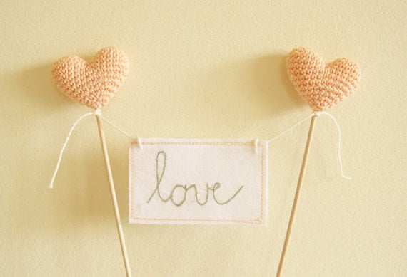 Love Cake Topper, Peach Wedding Cake Topper, Love Sign Banner