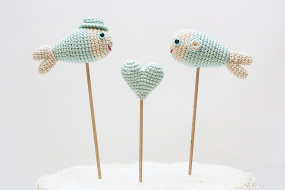 Mint Fish Cake Topper, Wedding Cake Topper, Beach Wedding, Cake Decor