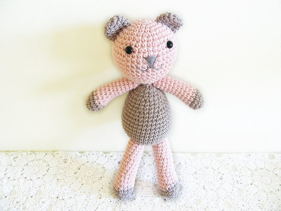 Teddy Bear Toy, Crochet Amigurumi Plush, Pink and Grey Toy for Boys and Girls