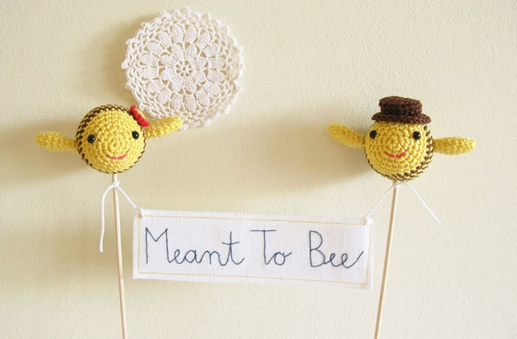 Meant To Bee Wedding Cake Topper, Yellow Wedding, Cake Topper, Bee Cake Topper