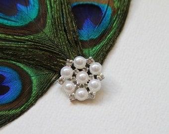 5 Rhinestone, Pearl Buttons B051