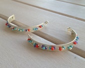 Summer in the Circle Sterling Silver big hoops Embroidered Metal Amethyst Coral Turquoise Freshwater Pearls Fresh Design Modern