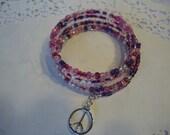 Peace Bracelet - Berry Mix Memory Wire Wrap Bracelet with a Peace Sign Charm