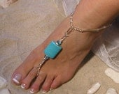 Crystal and Turqoise Barefoot Sandals Happi Feet Handmade Pair Nude Beach Wedding Shoes The Margie HF4