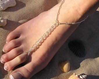 barefoot sandals,  Happi Feet, Handmade Pair Chainlink Glass Clear, beach wedding shoes, destination wedding shoes, The Katelyn HF6