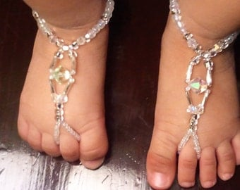 Swarovski Baby Barefoot Sandals Happi Feet Handmade Pair Please EMAIL me measurements The Yadira HF8