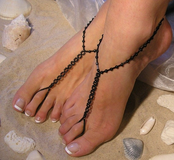 Barefoot Sandals Happi Feet Handmade Pair Chainlink Glass Black The Katelyn HF6