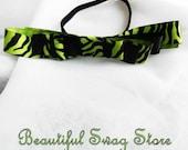 Lime Green Zebra Bow Running Headband