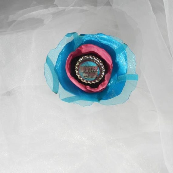 Black Blue Pink Fabric Flower Clip