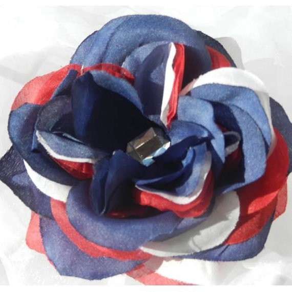 Red White Blue Rose Rhinestone Hair clip