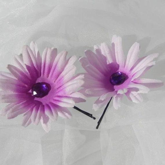 Purple Daisy Rhinestone Bobby Pin set
