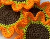 Custom list- 4 sets - Orange Petal Flower Crochet Coasters -set of 4