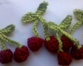 6 Handmade Crochet cherry in wine color Appliques Sewing Bow
