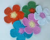 Lot of 15 Large Handmade Crochet Flower Appliques