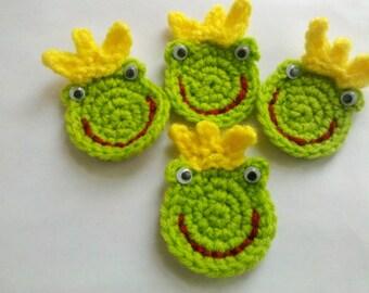 4 Crochet frog froggie Appliques Handmade