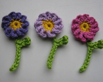 3 Handmade Crochet Flower Appliques Sewing Bow