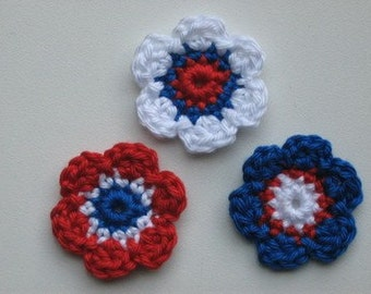 Lot of 3 flowers Crochet Flower Appliques (Red, white and blue)