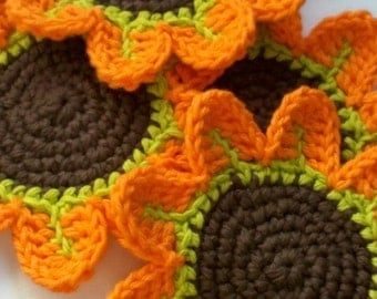 Orange Petal Flower Crochet Coasters -set of 4