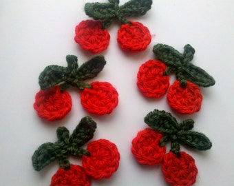 """5 Handmade Crochet cherry Appliques 2"""" Sewing Bow"""