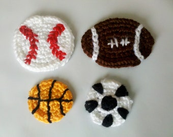 Sport Set of 8pcs handmade crochet football applique, crochet baseball, crochet soccer and crochet basketball for scrapbooking/ flat