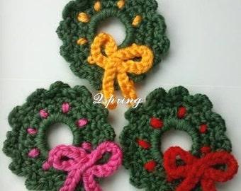 3 Crochet Christmas Wreath Appliques Handmade