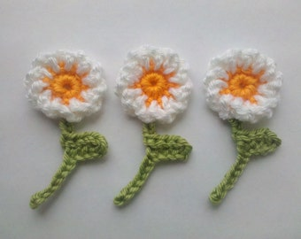 3 Handmade Crochet Flower Appliques Sewing Bow white