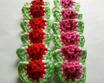 SALE PRICE 12 pcs Red and hot pink handmade crochet watermelons appliques