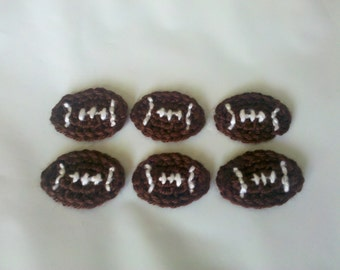 Set of 6pcs handmade crochet football appliques
