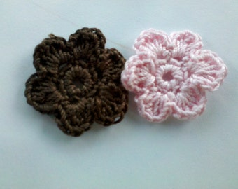 Set of 8 Crochet Flower Appliques Craft scrapbooking