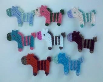 8 Crochet Pony/Horse Appliques 8 Colors