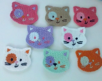 BLOW UP Deal 20% off 4 Crochet Cat Face Appliques 8 Colors