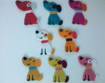 Big Deal SALE 8 crochet puppy doggy Applique/Scrapbooking/flatback