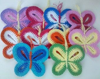 10 Crochet Butterfly Appliques 10 Color