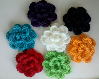 Christmas HOLIDAY SALE 10% Pick any 2 for Large 3inch Handmade Crochet Flower Appliques Sewing Bow pick U color
