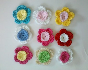 Fall Deal 20% off 36 Handmade Crochet Flower Appliques Sewing Bow