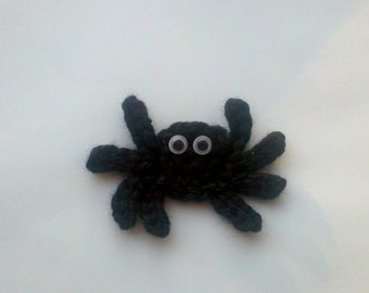 Lot of 6 Crochet Mini spider Halloween set Applique Handmade for scrapbooking trim sewing flatback