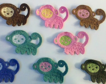 End of Year Sale 8 Crochet Monkey Appliques 8 Colors