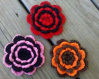 Large Handmade Crochet Flower 4inch Appliques Sewing Bow U pick one