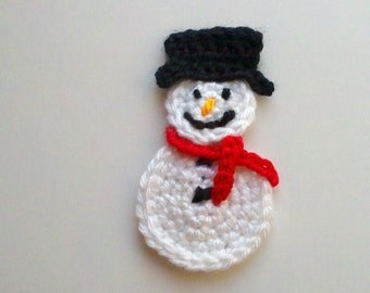 Set of 2 pcs Large handmade crochet snowman appliques 4inch christmas