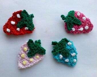 24 hours SALE Lot of 12 Pcs Handmade Crochet Mini strewberries Appliques Sewing Bow Scrapbooking