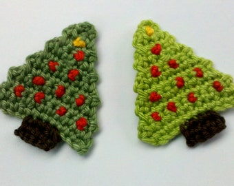 Crochet Pattern - handmade crochet christmas trees appliques christmas for scrapbooking Text instructions
