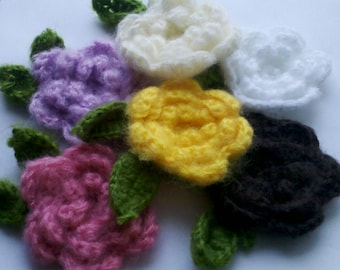 12 Large Handmade Mohair Crochet Flower Appliques Sewing Bow