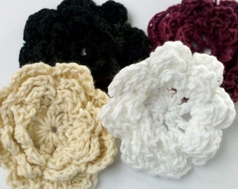 20 Handmade 2 inch Crochet Flower Appliques Sewing Bow