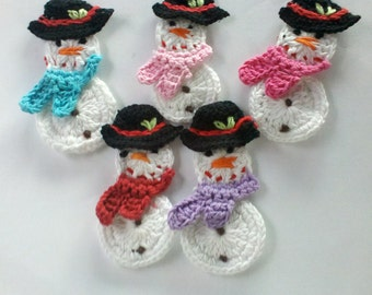 24 HOURS Sale Set of 5 pcs Large handmade crochet snowman appliques 3.5inch christmas with flower on the hat