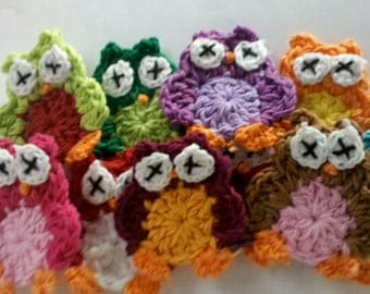 Hot Deal Sale Lot of 10 Handmade funky owl Crochet owl Appliques Sewing Bow