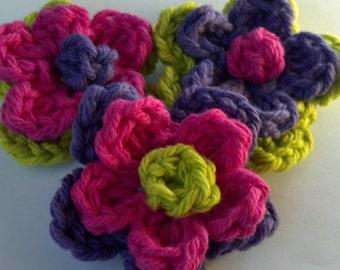 3 Crochet cotton Flower 3 inch Colorful flowers Craft U pick color