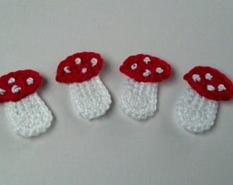 set of 4pcs Crochet mushroom Appliques Handmade