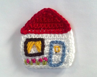 Crochet Home Sweet Home Applique Handmade for scrapbooking/ flat back/ trim/ embellish