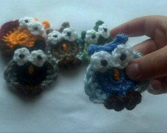 set of 5pcs Crochet Funky Little owl Appliques Handmade
