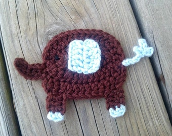 Crochet Elephant Applique Handmade for scrapbooking/ flat back/ trim/ embellish